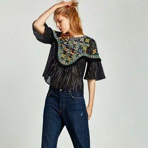 Zara Black Embroidered Fringe Bell Sleeve Blouse M